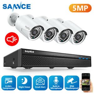 SANNCE HD 5MP CCTV IP Camera 8CH Home Security POE System Microphone Audio Video