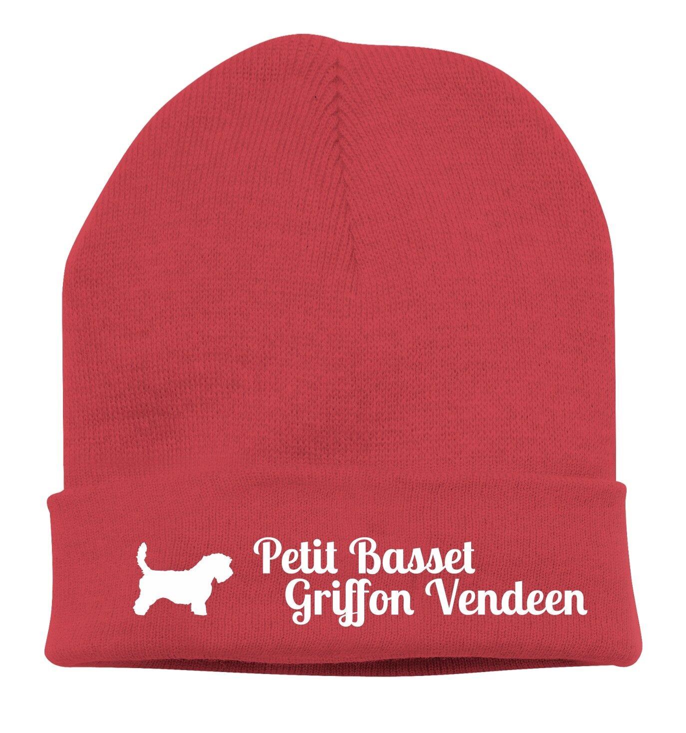 Beanie Knitted Cap Stick Motif Petit PASSET Griffon Vendeen Dog siviwonder
