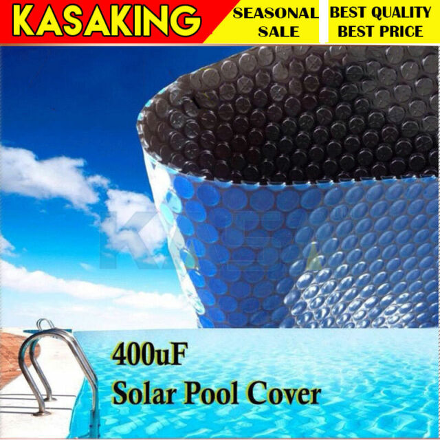 Swimming Pool Solar Cover Black 400 Micron Outdoor Bubble Blanket 10.0 X 4.0m