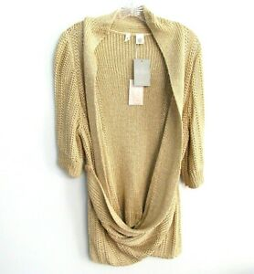 Details about NEW Anthropologie Moth Gold Cardigan Sweater Open Wrap Draped Short Sleeve Sz XL