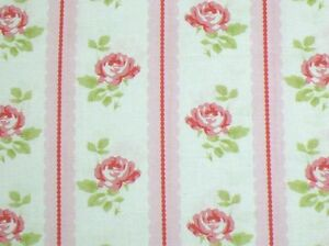 """27"""" Remnant Cottage Shabby Chic Lulu Roses Lilah Rose Stripe Fabric PWTW096-Pink"""