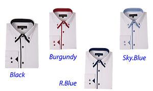 Men/'s Cotton Blend Solid Business Dress Shirt #618 Button-Down Double Collar