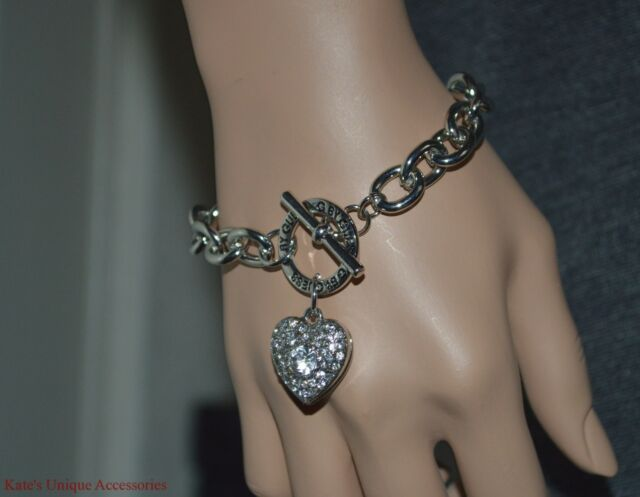 G By Guess Silver Tone Shiny Rhinestone Heart Toggle Chain Bracelet Nwt Gift Ide