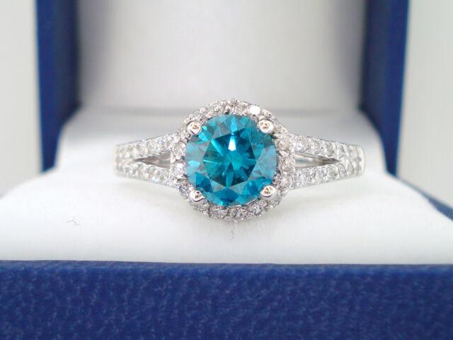 ENHANCED BLUE DIAMOND COCKTAIL RING SI1 1.35 CARAT 14K WHITE GOLD HANDMADE