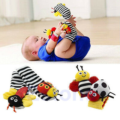 Infant Baby Kids Ladybug Bee Wrist Foot Socks Rattles Hand Foot Finders Toys Hot