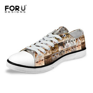Fashion-Cats-Animal-Shoes-Women-Girls-Low-Top-Canvas-Shoes-Lace-Up-Sneakers