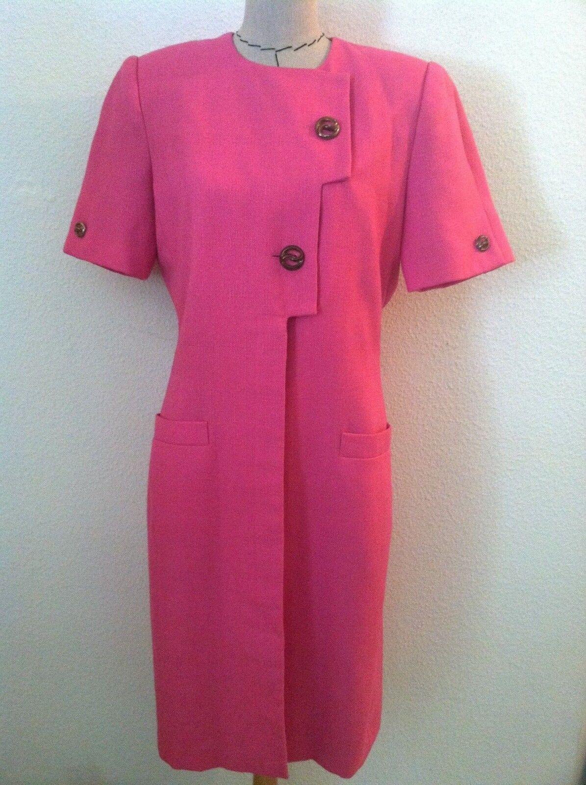Vintage 90s women dress Kasper pink metal button wiggle sheath tailored 8 10