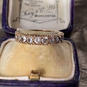 Antiguo-Oro-9ct-eduardiana-conjunto-completo-de-anillo-de-la-eternidad-con-Blanco-espinelas-fechas