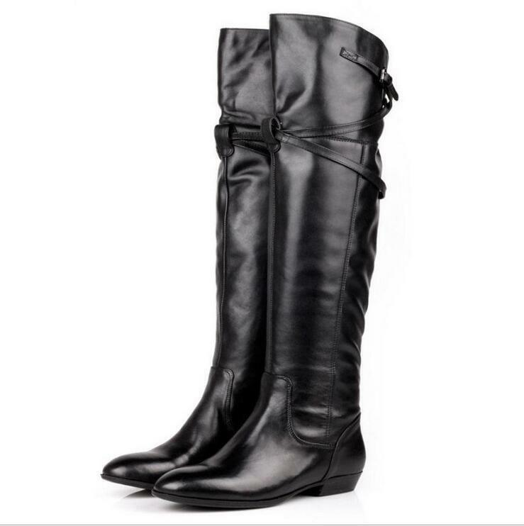 Women Leather Over Knee High Riding Boots Flat Heel Buckle Fur Shoes Pointed Toe
