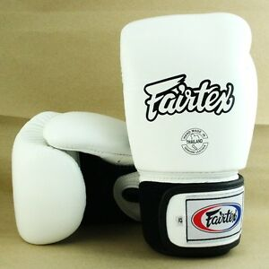 FAIRTEX MUAY THAI KICK BOXING GLOVES WHITE BREATHABLE BGV1 SPARRING MMA