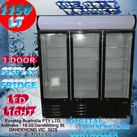 Eurotag 3 Door 1150l Commercial Upright Display Fridge Led Light 1year War.