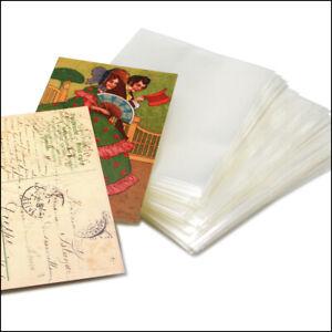 100-Ansichtskartenhuellen-Postkartenhuellen-Huellen-alte-AK-96x148-mm-100-MY-Klar
