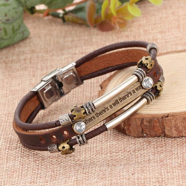 Unisex Casual Multilayer Leather Wristband Punk Magnetic Buckle Bangle Bracelets