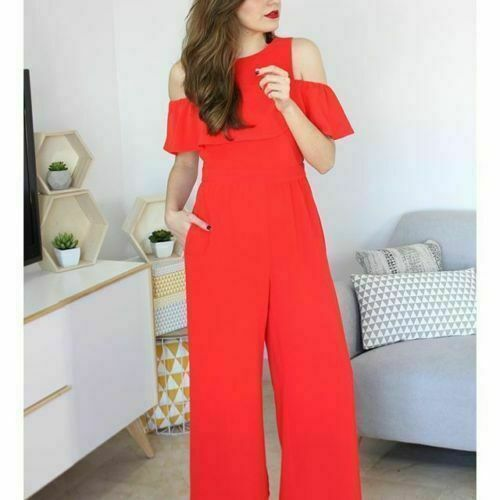 ZARA RED OFF THE SHOULDER FRILLED JUMPSUIT FLOWING XS REF  7771 583 BLOGGERS