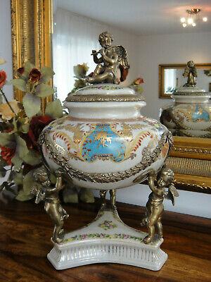 Deckelvase Porzellan Bronze Löwe Urne Deckeldose Prunkvase Antik Pokal Edel Ei