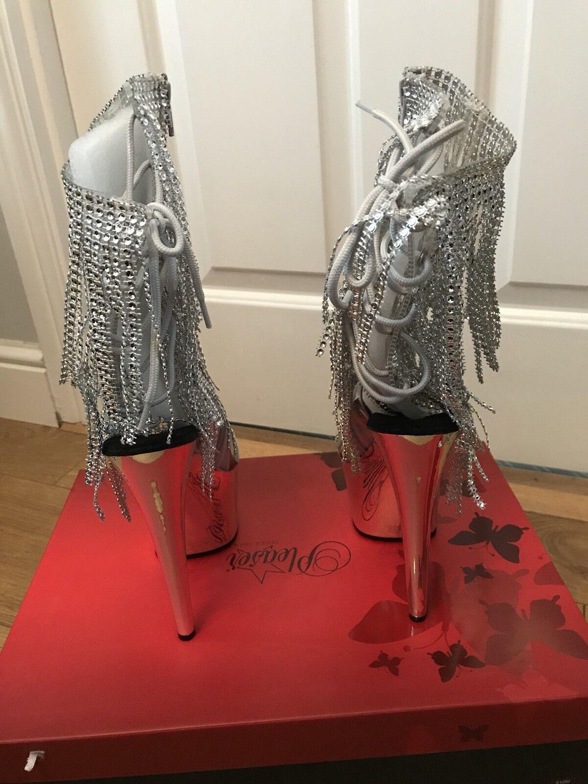 Pleaser Rhinestone Adore 1017RSF Sexy Silver Rhinestone Pleaser Ankle Stiefel UK Größe 5 New in Box 8e5954