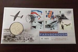 GB-QEII-PNC-B-UNC-2008-Farnborough-Air-Show-cubierta-y-monedas-medalla