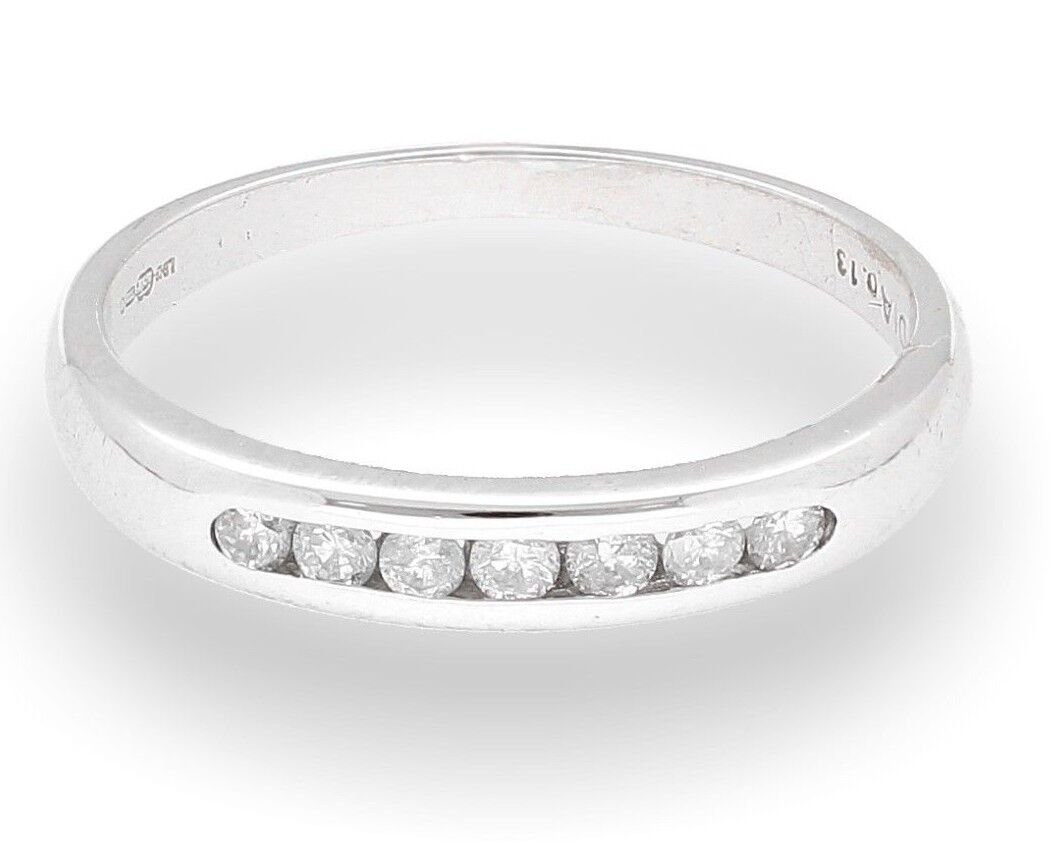 18Ct White gold 0.13ct Diamond Channel Set Eternity Ring (Size I  2) 3mm Width