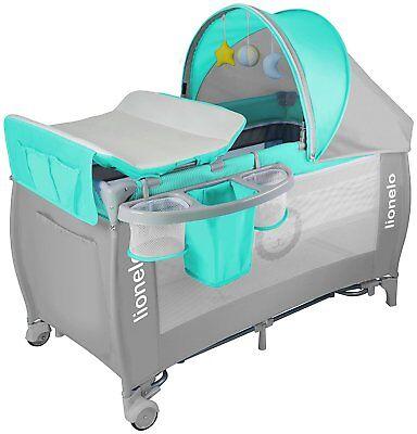 Persevering Lionelo Sven Plus Bebé Cuna De Viaje Con Mesa Cambiador Turquesa Cama Infantil Relieving Rheumatism Nursery Furniture