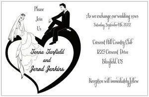 30-50-100-Modern-BRIDE-GROOM-Sitting-on-Heart-Any-Color-FONT-WEDDING-Invitation