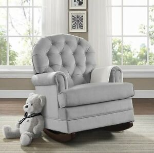Image Is Loading Gray Tufted Rocker Baby Relax Nursery Rocking Chair