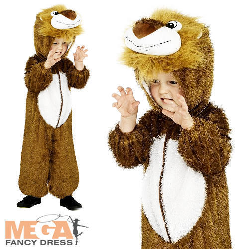 LEONE GIUNGLA Bambini Costume Zoo Animale Libro Settimana Ragazzi Ragazze Per Bambini Costume