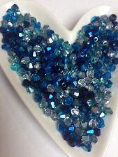 100 Beautiful Crystal Glass Bicone Beads - Blue Metallic Mix 4mm