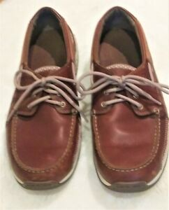 Dunham-Size-8-2-E-Leather-Captain-Boat-Rollbar-Lace-Up-Loafer-Brown