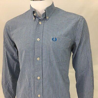 Fred Perry mens shirt long sleeve medium 40 blue white check RARE slim