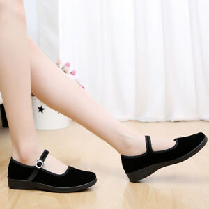 Womens-Flat-Chinese-Classic-Ballerina-Velvet-Fabric-Cotton-Sole-Work-Shoes-Black