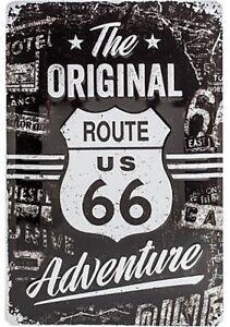 Originale-Route-66-Avventura-Goffrato-Segno-Del-Metallo-300mm-x-200mm-Na
