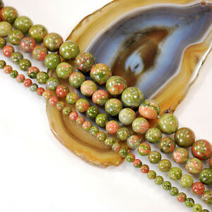 Natural Unakite Round Beads 15 4 6 8 10mm , pick your size