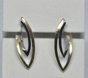 Echt-925-Sterling-Silber-Ohrringe-Creolen-gelbgold-Hochzeit-Nr-251