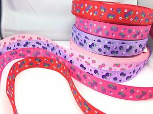 "1/"" INCH 25mm PNK WHITE FLOWERS LAVENDER PURPLE GROSGRAIN RIBBON 5 YDS DIY BOWS"