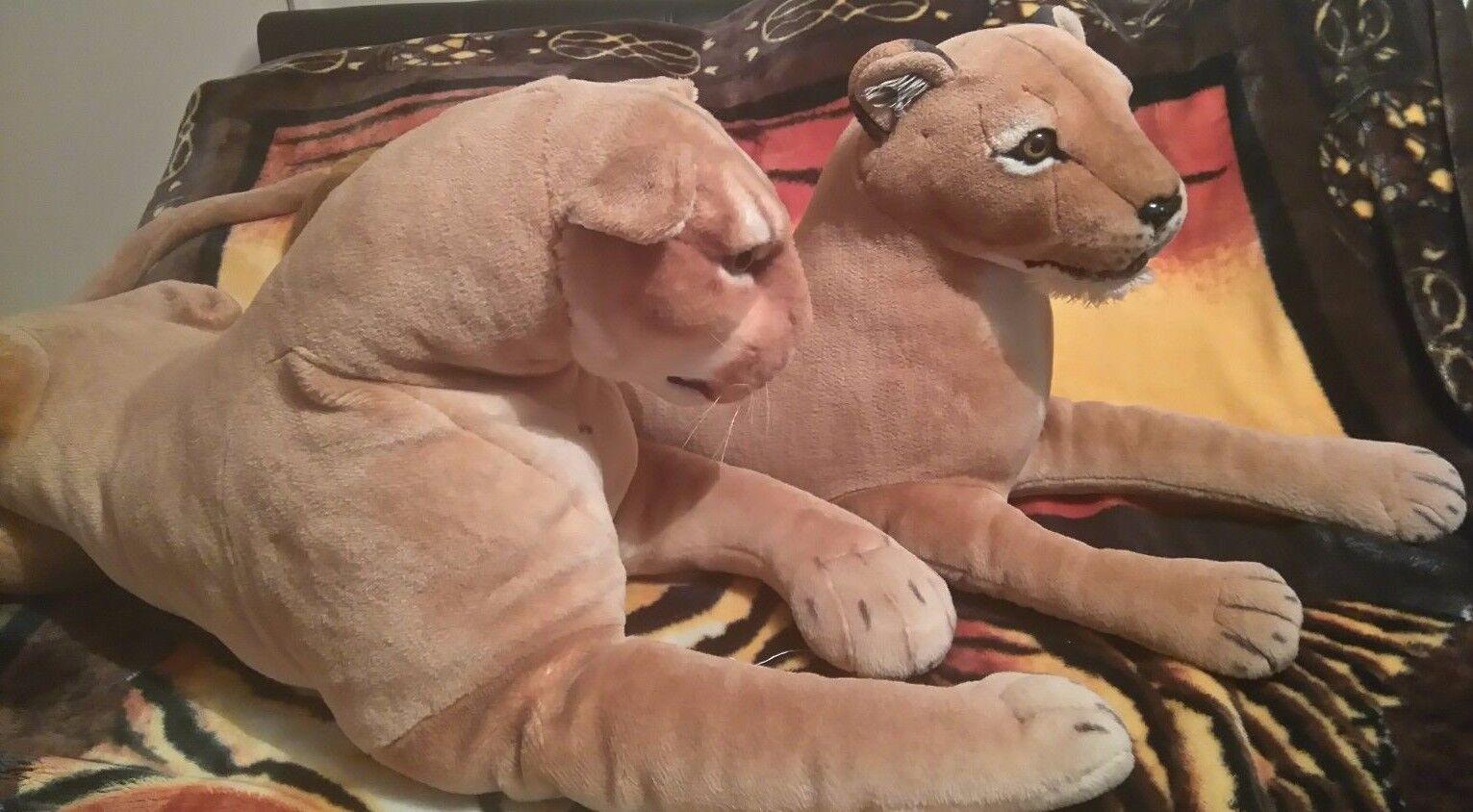 Extra Large 2 Realistic Lion Plush Soft Toy Safari Wild Animal Figure PMS Dolls