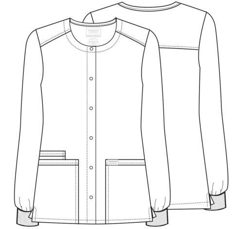 Cherokee Workwear Scrubs Snap Front Warm Up Jacket WW340 BLK Black Free Shipping