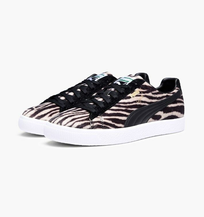 Puma Men's Clyde Suits OATMEAL BLACK WHITE 363426-01 ZEBRA Print