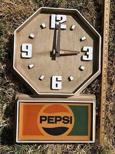 Vintage 1980's Pepsi Faux Wood Plastic Electric Clock Impact International