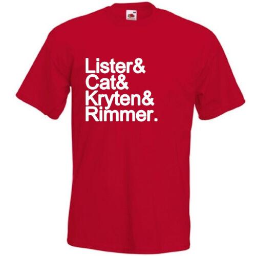 LISTER /& CAT /& KRYTEN /& RIMMER T-SHIRT joke funny red dwarf