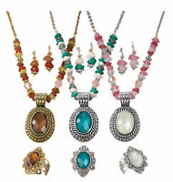 Avon Brown & Gold Beaded Chain Medallion Necklace, Earrings, & Ring Gift Set