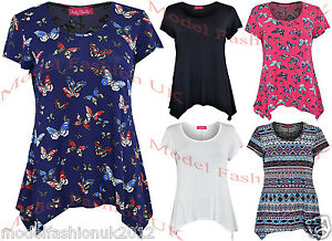 NEW-LADIES-SHORT-SLEEVE-MULTI-COLOUR-SMOCK-TOP-SIDE-DIP-TUNIC-TOP-SIZE-UK-10-20