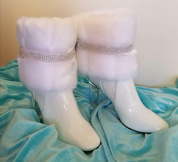 Snow Angel White Faux Mink Crystal White Bridal Wedding Ankle Booties