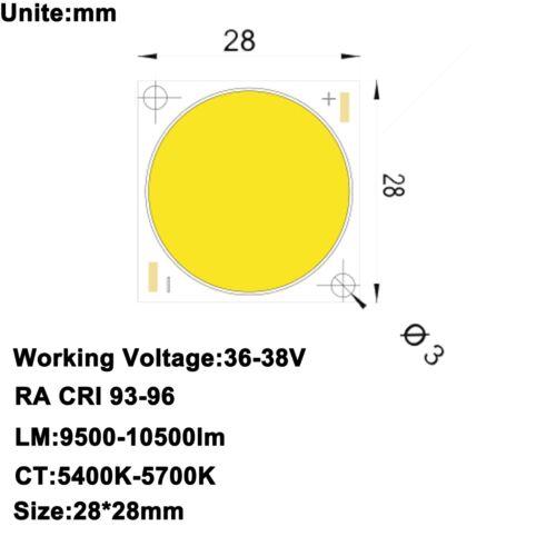 Haute Puissance COB DEL lumière du jour blanc 5600K 100 W 200 W 300 W High CRI 90//95 RA 93-97