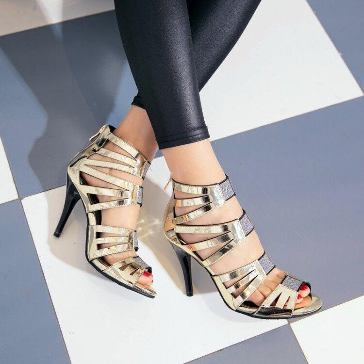 New womens open toe stiletto high heels pumps dress shoes sandals back zip size