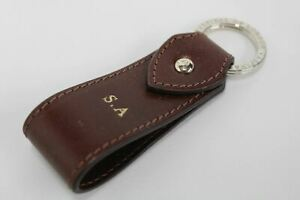 ASPINAL-OF-LONDON-Leather-Cognac-Brown-S-A-Initials-Gold-Accent-Keyring-Fob-NEW