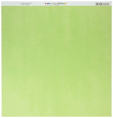 BoBunny 12x12 Scrapbooking paper Mint dot x 2 sheets Double Dot Collection