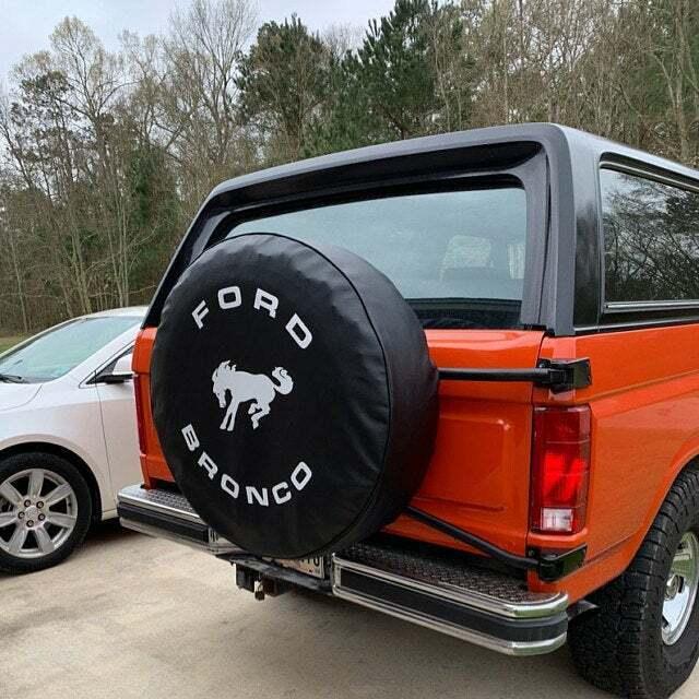 FORD BRONCO 32 Black Denim textured Vinyl Tire Cover SpareCover® Brawny Series