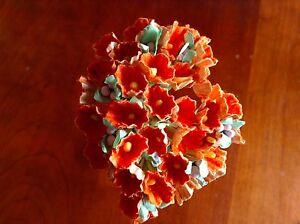 Vtg-Millinery-Flowers-Forget-Me-Not-Pumpkin-Orange-for-Doll-Hat-Or1