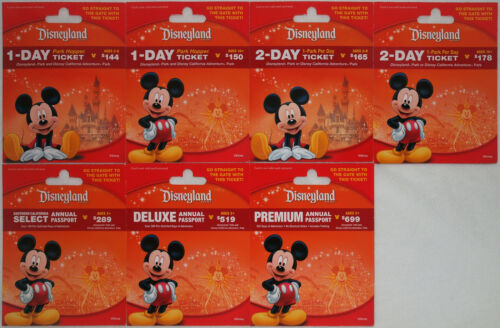 All 7 Different DISNEYLAND Passport Mickey Mouse Gift Cards 2014 Mint  Not Valid