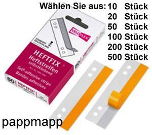 Veloflex-Heftfix-2002-Menge-nach-Wahl-105mm-lang-Heftstreifen-selbstklebend